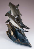 Gray Sharks On Wave Figurine Statue 4