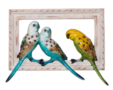 Blue and Green Parakeets Budgies Figurine Bird Frame