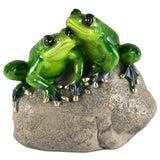 Green Frog Couple On Rock Figurine