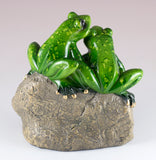 Green Frog Couple On Rock Figurine 3