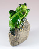 Green Frog Couple On Rock Figurine 4