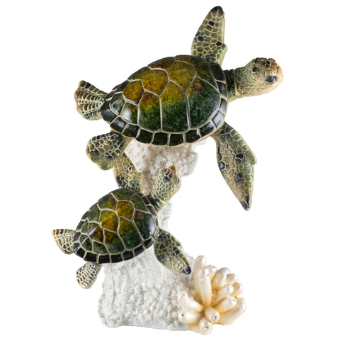 Sea Turtles Mother and Baby On Coral Figurine