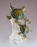 Sea Turtles Mother and Baby On Coral Figurine 3
