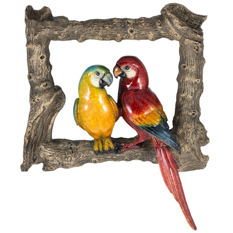 Scarlet and Blue Macaw Parrot Figurine Bird Frame