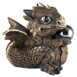 Brown Baby Dragon With Crystal Ball Marble Figurine