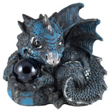 Blue Baby Dragon With Crystal Ball Marble Figurine