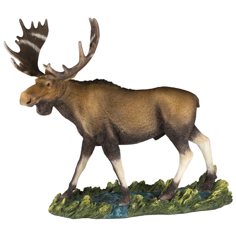 Moose In Stream Figurine Statue