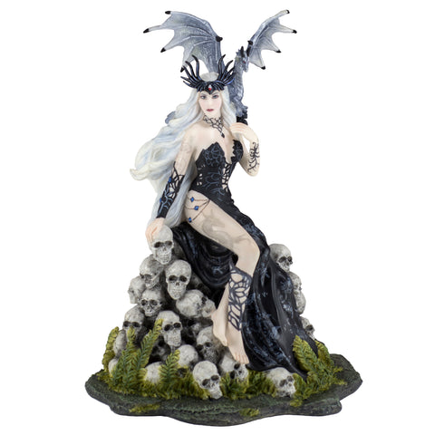 Gothic Lady With Dragon On Mound of Skulls Figurine