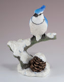 Blue Jay On Snowy Branch Bird Figurine 2