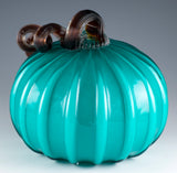 Teal Blue Pumpkin Ribbed Hand Blown Glass