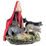 Red Caped Lady With Pack of Wolves Figurine Statue 1