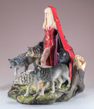 Red Caped Lady With Pack of Wolves Figurine Statue 4