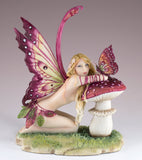 Small Things Fairy With Butterfly On Mushroom Figurine Statue
