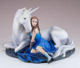 Blue Moon by Anne Stokes Girl With Unicorn Figurine 2