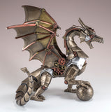 Steampunk Dragon With Sphere Figurine Statue