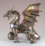 Steampunk Dragon With Sphere Figurine Statue 3