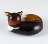 Amber Brown Sleeping Fox Hand Blown Glass Figurine