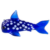 Miniature Dark Blue Spotted Shark Hand Blown Glass Figurine