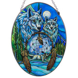 Wolves With Dream Catcher Suncatcher Glass By AMIA