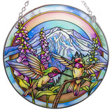 Hummingbirds and Foxglove Suncatcher Glass By AMIA 2