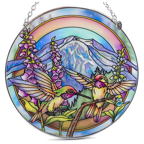 Hummingbirds and Foxglove Suncatcher Glass By AMIA
