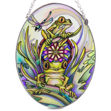 Frogs With Dragonfly Suncatcher Glass By AMIA