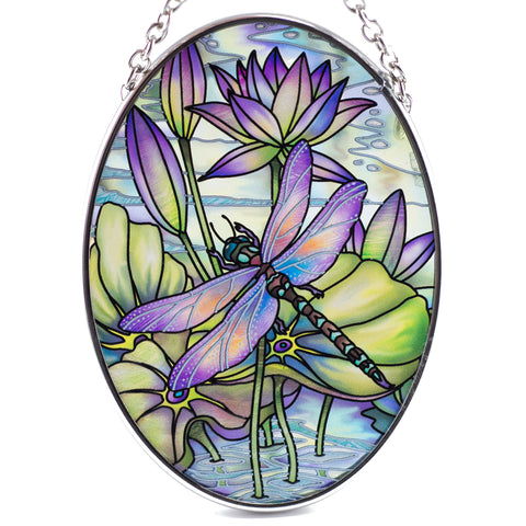 Amethyst Sunrise Dragonfly Glass Suncatcher By AMIA