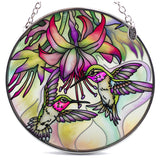 Hummingbirds and Fuchsia Suncatcher Glass By AMIA