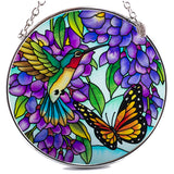 Hummingbird and Butterfly Suncatcher Glass By AMIA