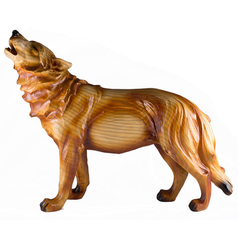 Howling Wolf Faux Carved Wood Look Figurine