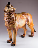 Howling Wolf Faux Carved Wood Look Figurine 2
