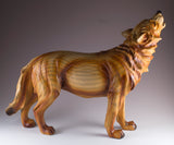 Howling Wolf Faux Carved Wood Look Figurine 3