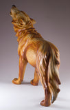 Howling Wolf Faux Carved Wood Look Figurine 4