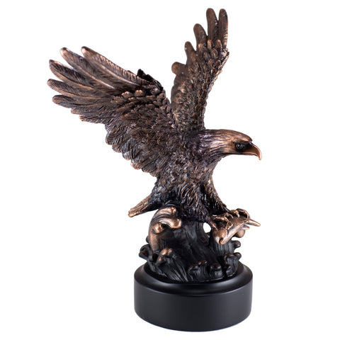 Eagle With Fish Figurine Bronze Copper Plated Statue
