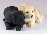 Yellow and Black Labrador Retriever Puppies Dog Figurine 3