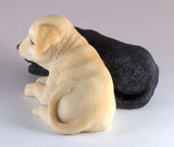 Yellow and Black Labrador Retriever Puppies Dog Figurine 5