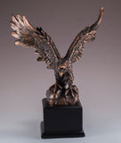 Eagle On Rock Figurine Bronze Copper Plated Statue