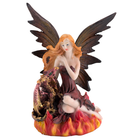 Red Fire Fairy With Dragon Figurine
