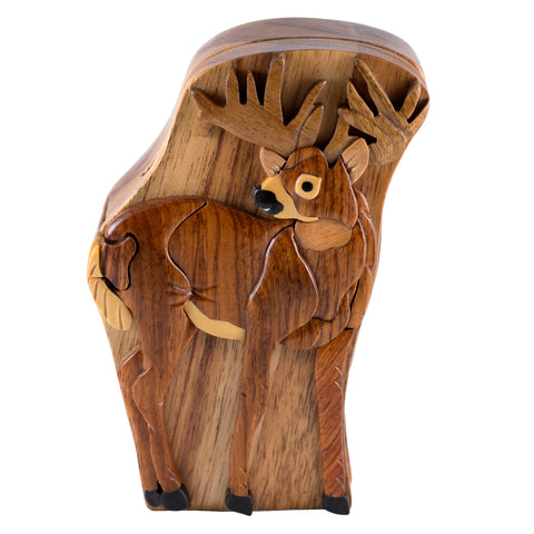 Wood Intarsia Deer Puzzle Trinket Box 5