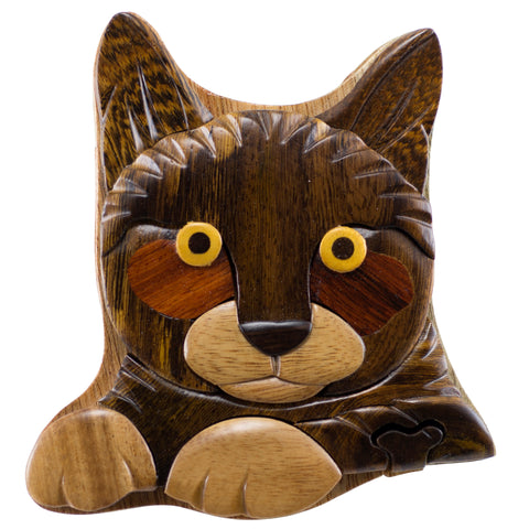 Wood Intarsia Cat Puzzle Trinket Box 6