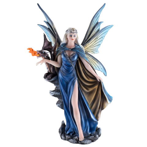 Blue Cape Fairy With Fire Breathing Dragon Figurine