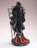 Red Witch With Raven Crow Crystal Ball Figurine