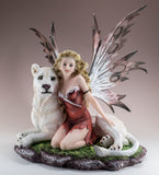 Fairy With White Lion Figurine