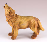 Small Howling Wolf Faux Carved Wood Look Figurine