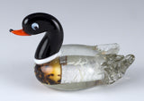 Duck Miniature Black Head Brown and Silver Hand Blown Glass Figurine
