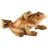 Mother Frog With Baby Faux Carved Wood Look Figurine