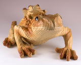 Mother Frog With Baby Faux Carved Wood Look Figurine 3