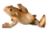 Mother Frog With Baby Faux Carved Wood Look Figurine 2
