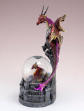 Dragon Figurine Red and Pink On Castle With Snow Globe