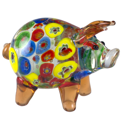 Orange Millifiori Pig Miniature Hand Blown Glass Figurine